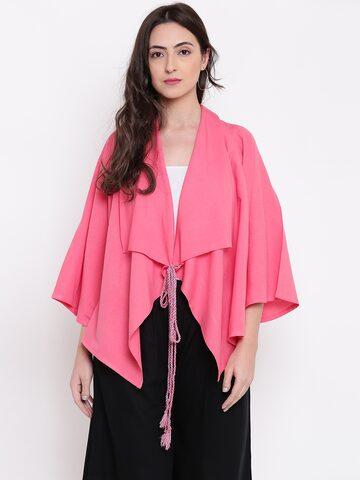 Global Desi Pink Solid Tie-Up Shrug Global Desi Shrug at myntra