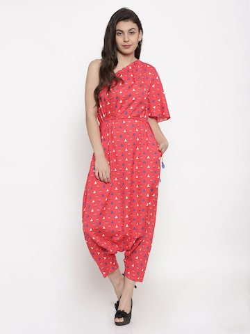 Global Desi Red Printed Basic One-Shoulder Jumpsuit Global Desi Jumpsuit at myntra