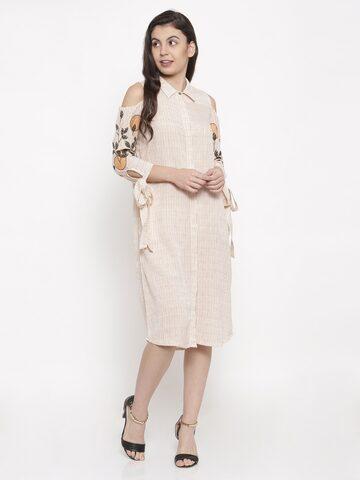 Global Desi Women Beige Printed A-Line Dress Global Desi Dresses at myntra