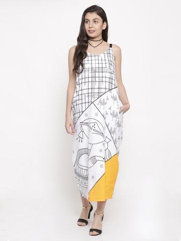 Global Desi Women White Printed Maxi Dress Global Desi Dresses at myntra