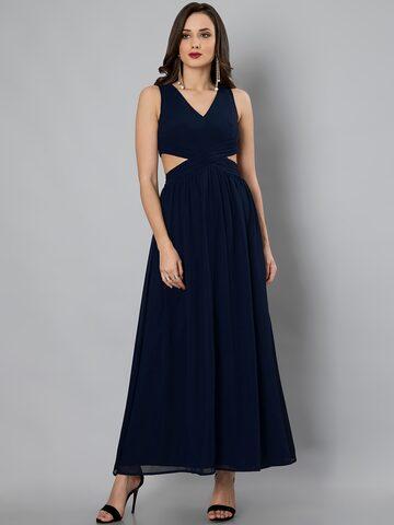 FabAlley Women Navy Blue Solid Maxi Dress FabAlley Dresses at myntra