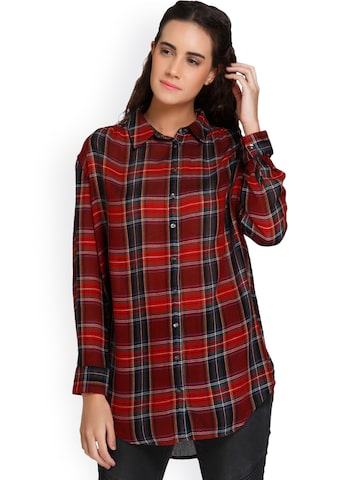 Vero Moda Women Red & Blue Regular Fit Checked Casual Shirt Vero Moda Shirts at myntra