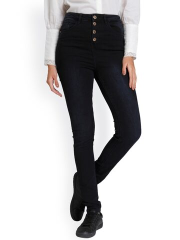 Vero Moda Women Navy Blue Slim Fit High-Rise Clean Look Jeans Vero Moda Jeans at myntra