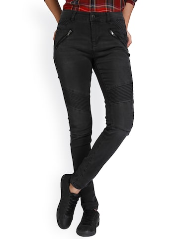 Vero Moda Women Black Slim Fit Mid-Rise Clean Look Jeans Vero Moda Jeans at myntra