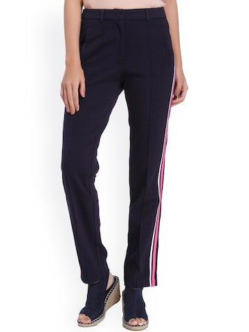 Vero Moda Women Navy Blue Relaxed Regular Fit Solid Trousers Vero Moda Trousers at myntra