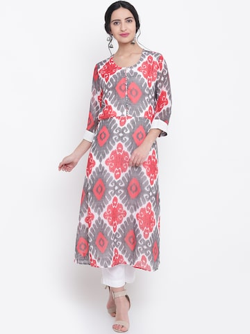 Shree Women White & Red Printed A-Line Kurta Shree Kurtas at myntra