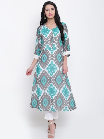 Shree Women Green & Grey Printed A-Line Kurta Shree Kurtas at myntra