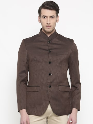 Raymond Brown Self Designed Single-Breasted Slim Fit Casual Blazer Raymond Blazers at myntra