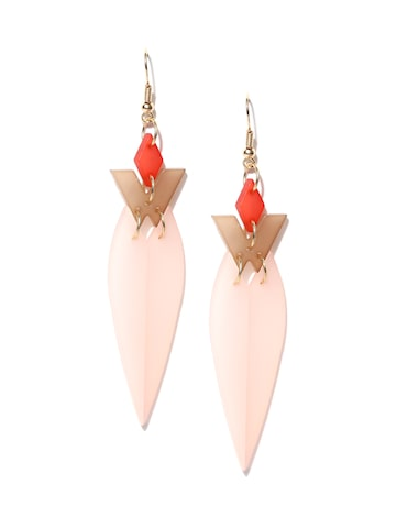 Golden Peacock Pink Gold-Plated Geometric Drop Earrings Golden Peacock Earrings at myntra
