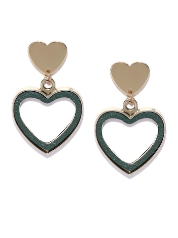Golden Peacock Green Gold-Plated Heart-Shaped Drop Earrings Golden Peacock Earrings at myntra