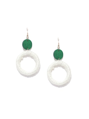 Golden Peacock Off-White & Green Circular Drop Earrings Golden Peacock Earrings at myntra