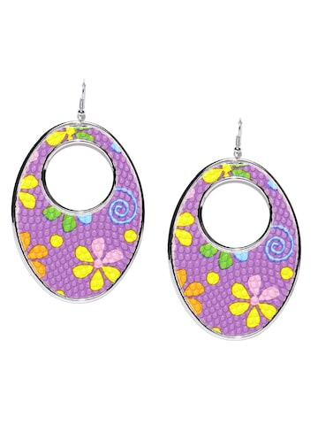 Golden Peacock Purple Silver-Plated Printed Oval Drop Earrings Golden Peacock Earrings at myntra