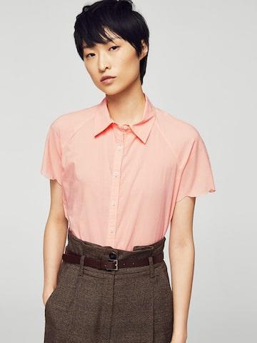 MANGO Women Peach-Coloured Solid Casual Shirt MANGO Shirts at myntra