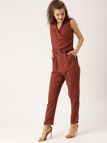 DressBerry Maroon Solid Basic Jumpsuit DressBerry Jumpsuit at myntra