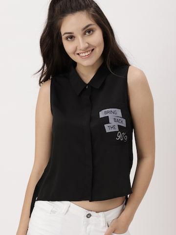 DressBerry Women Black Regular Fit Printed Casual Shirt DressBerry Shirts at myntra