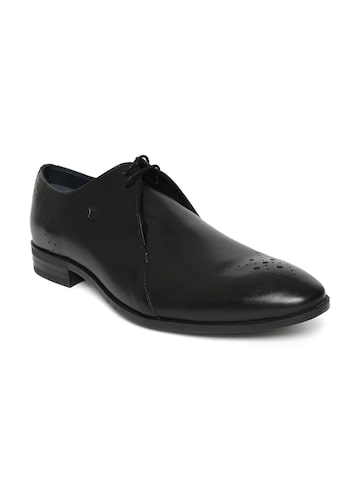Louis Philippe Men Black Leather Hand-Painted Derbys Louis Philippe Formal Shoes at myntra