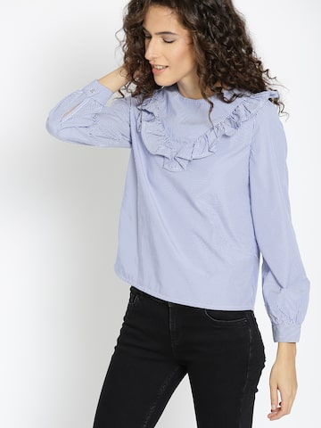 MANGO Women Blue Striped A-Line Top MANGO Tops at myntra