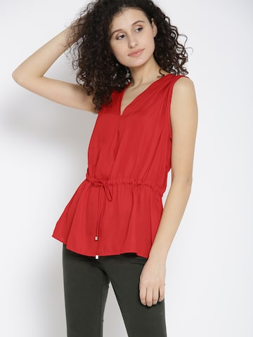 MANGO Women Red Solid Cinched Waist Top MANGO Tops at myntra