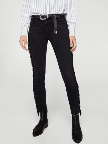 MANGO Women Black Mid-Rise Clean Look Stretchable Cropped Jeans MANGO Jeans at myntra