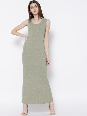 MANGO Women Green Ribbed Shimmer Maxi Dress MANGO Dresses at myntra