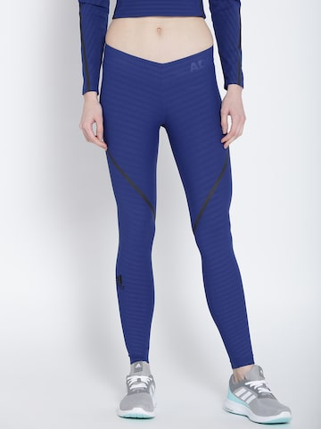 Adidas Blue Self-Striped Ask 360 LT Compression Fit Training Tights Adidas Tights at myntra