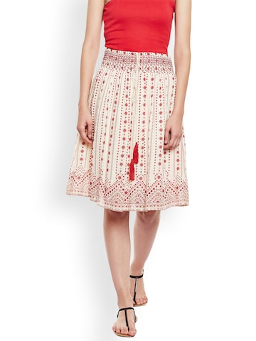 Oxolloxo Cream & Red Printed A-Line Knee Length Skirt Oxolloxo Skirts at myntra