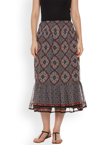 Oxolloxo Navy Blue Printed A-Line Midi Skirt Oxolloxo Skirts at myntra
