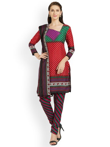 Florence Red Silk Crepe Unstitched Dress Material Florence Dress Material at myntra