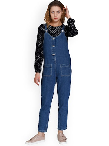 ONLY Blue Solid Basic Jumpsuit ONLY Jumpsuit at myntra