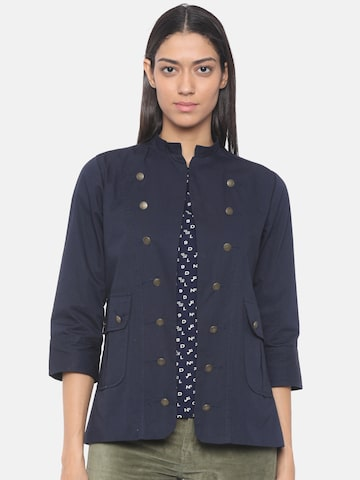 People Women Navy Blue Solid Tailored Jacket People Jackets at myntra