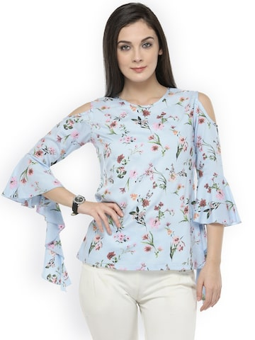 plusS Women Blue Cold-Shoulder Printed Top plusS Tops at myntra