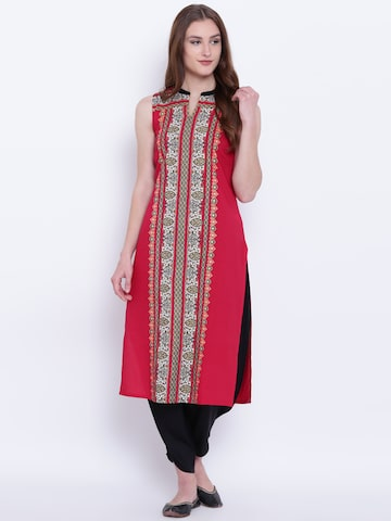 AURELIA Women Red Printed Straight Kurta AURELIA Kurtas at myntra