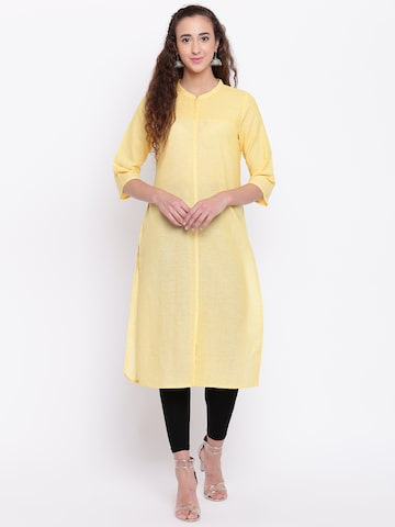 AURELIA Women Yellow Solid Straight Kurta AURELIA Kurtas at myntra