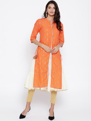 AURELIA Women Orange & Cream-Coloured Solid Layered A-Line Kurta AURELIA Kurtas at myntra