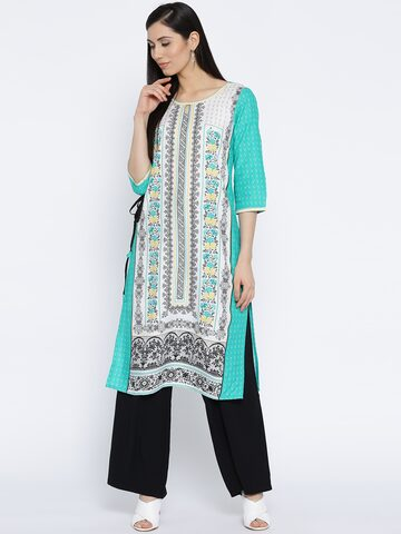 AURELIA Women White & Green Printed Straight Kurta AURELIA Kurtas at myntra