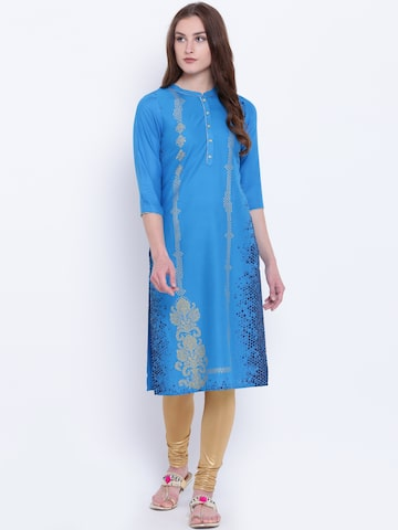 AURELIA Women Blue & Golden Printed Straight Kurta AURELIA Kurtas at myntra