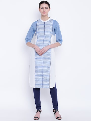 AURELIA Women White & Blue Woven Design Straight Kurta AURELIA Kurtas at myntra