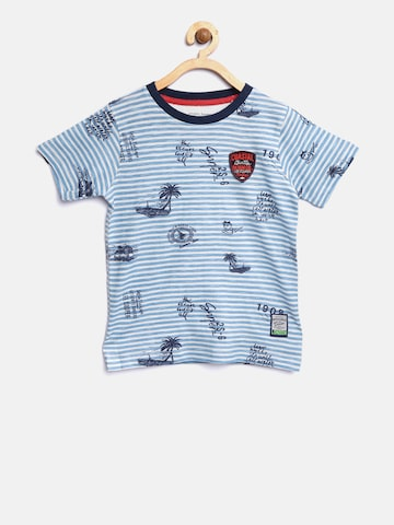 Lee Cooper Boys Blue & White Striped Round Neck T-shirt Lee Cooper Tshirts at myntra