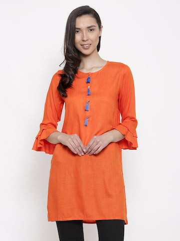 AKKRITI BY PANTALOONS Orange Solid Tunic AKKRITI BY PANTALOONS Tunics at myntra