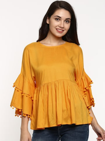 Jealous 21 Women Yellow Solid Cinched Waist Top Jealous 21 Tops at myntra