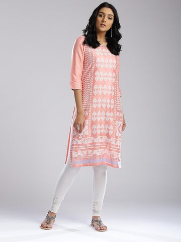 W Women Pink Printed Straight Kurta W Kurtas at myntra