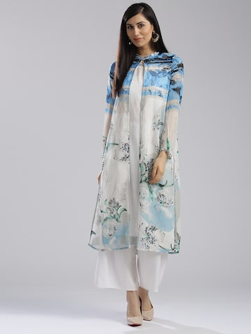 W Women White Printed Straight Kurta with Ethnic Jacket W Kurtas at myntra