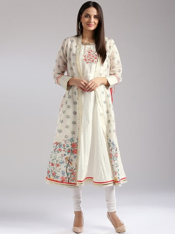 W Women Off-White Printed Layered A-Line Kurta W Kurtas at myntra