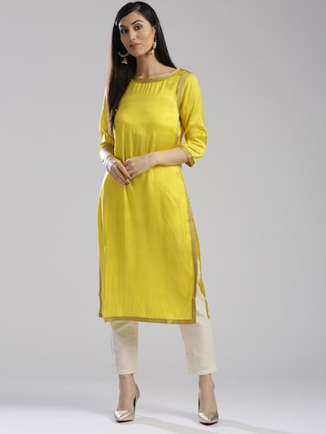 W Women Yellow Solid Straight Kurta W Kurtas at myntra