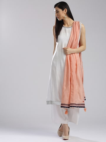 W Peach-Coloured Solid Dupatta W Dupatta at myntra