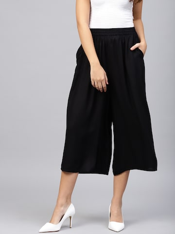 W Women Black Solid Regular Fit Culottes W Trousers at myntra