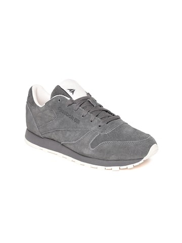 Reebok Classic Women Charcoal Grey Leather Sneakers Reebok Classic Casual Shoes at myntra
