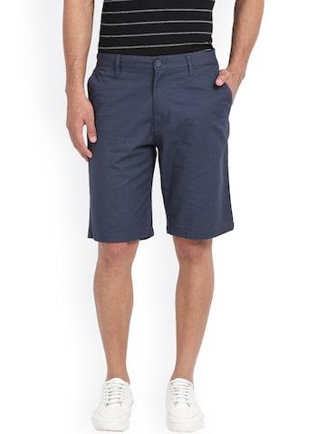 Indian Terrain Men Blue Solid Regular Fit Chino Shorts Indian Terrain Shorts at myntra