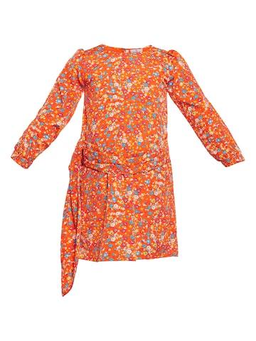 Oxolloxo Girls Orange & Blue Floral Print Shift Dress Oxolloxo Dresses at myntra