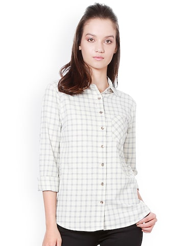 Allen Solly Woman Women White Regular Fit Checked Casual Shirt Allen Solly Woman Shirts at myntra